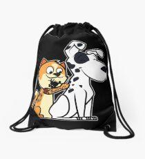 Cat Tattooed Dalmatian Drawstring Bag