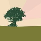 Trichromatic landscape Tree and a bird by by-jwp