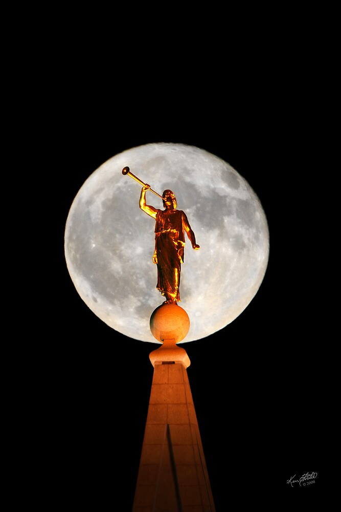 Angel Moroni in the Moon 20x30 by Ken Fortie