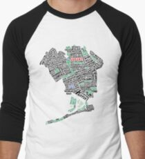 Queens New York Map Typography Men's Baseball ¾ T-Shirt