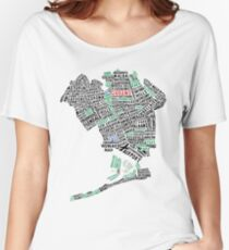 Queens New York Map Typography Women's Relaxed Fit T-Shirt