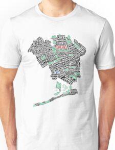 Queens New York Map Typography Unisex T-Shirt