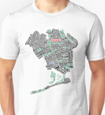 Queens New York Map Typography Slim Fit T-Shirt