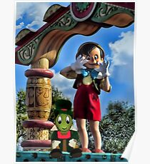 PINOCCHIO AND JIMMY CRICKET (VERSION THREE)(A FAVORITE MEMORY OF MINE) PICTURES-CARDS-PILLOWS-TOTE BAGS-ECT.. Poster