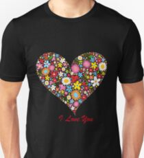 Cute Flowers Big Heart Unisex T-Shirt