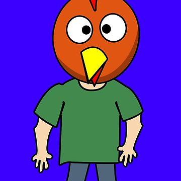 Crazy chicken dude cartoon graphic mens geek funny nerd by jekonu