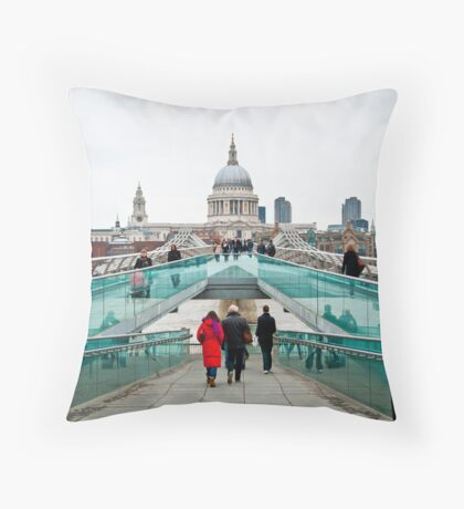 St Paul's Cathedral from Millennium Bridge. Throw Pillow