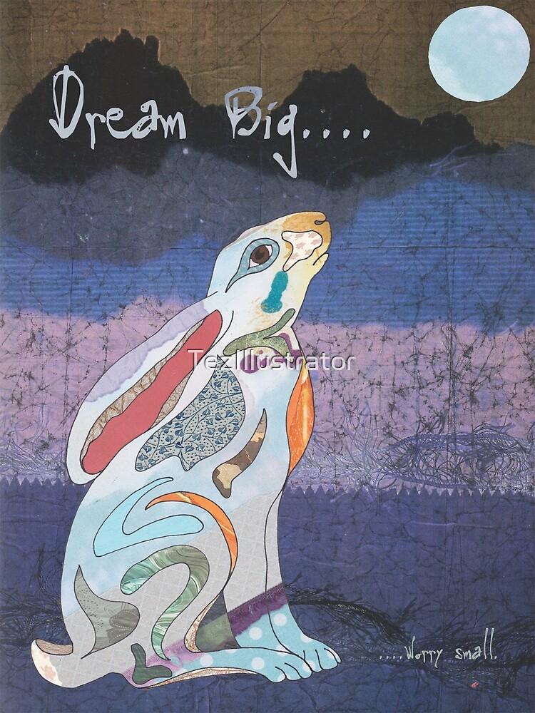 Moon Gazing Hare. Dream Big, worry small. by TezIllustrator
