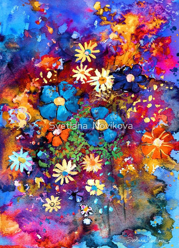 """Vibrant abstract flowers painting"" by Svetlana Novikova ..."