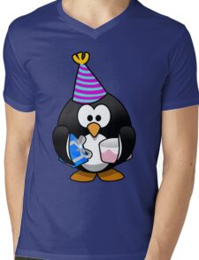 Personalized birthday card penguin geek funny nerd Mens V-Neck T-Shirt