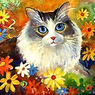 Whimsical Cat painting in flowers Svetlana Novikova by Svetlana  Novikova