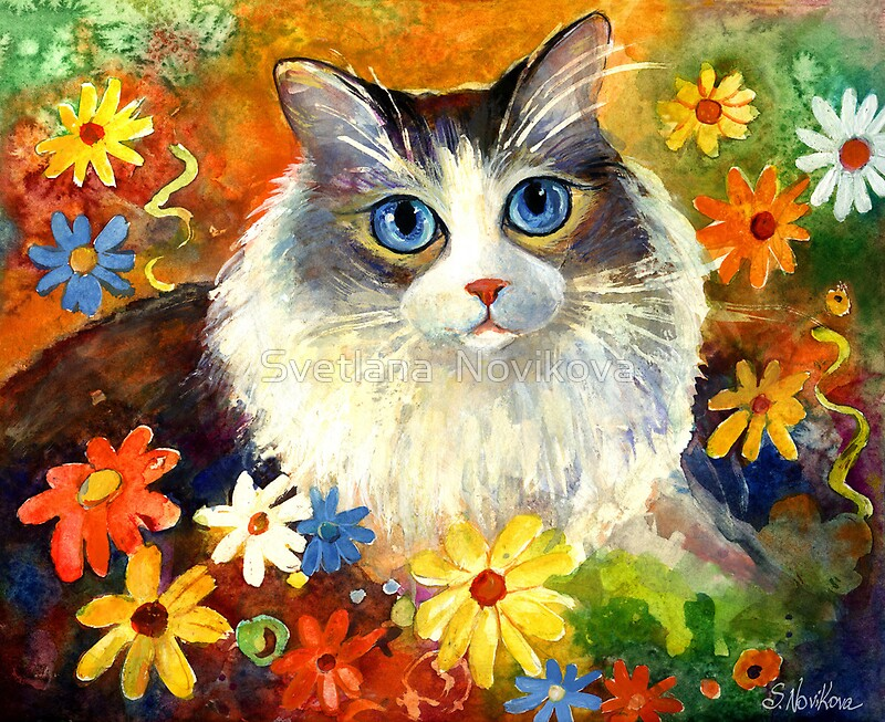 Quot Whimsical Cat Painting In Flowers Svetlana Novikova Quot By