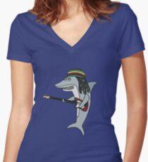 Camiseta entallada de cuello en V Tiburón reggae