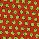 Brussel Sprouts Pattern in Red by evannave