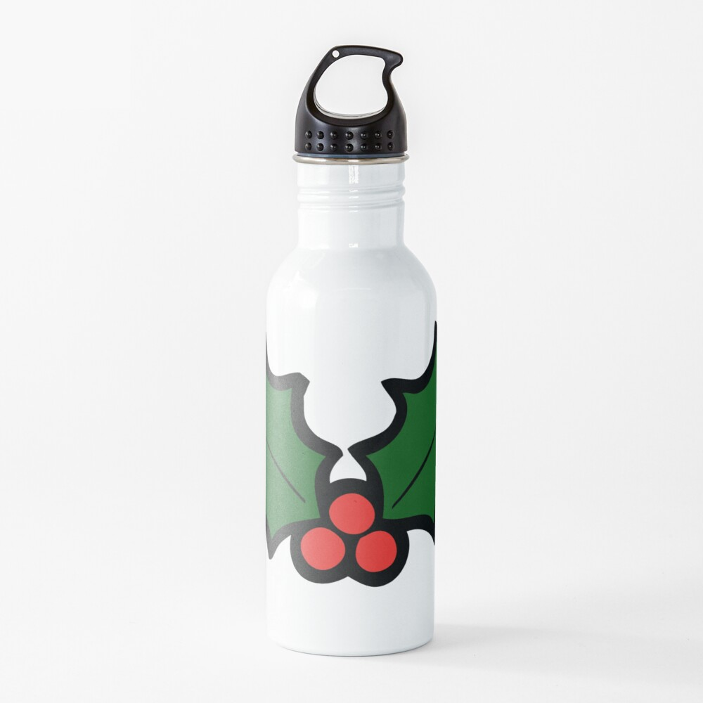 Holly Leaves and Berries Pattern in Light Green Water Bottle