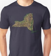 New York State Typographic Topography Map T-Shirt
