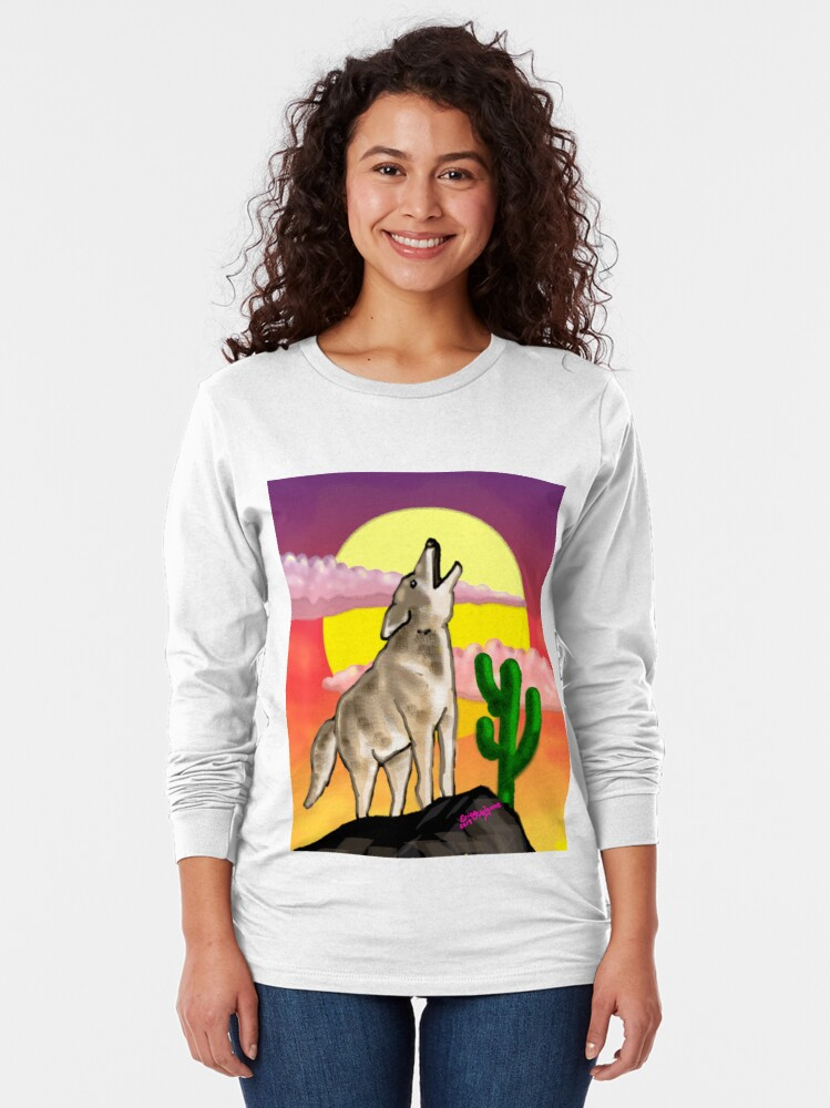 Alternate view of Coyote Sunset Version1 Long Sleeve T-Shirt