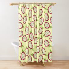 Dragon fruit on light background Shower Curtain