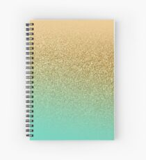 Gold Glitter Aqua Gradient Spiral Notebook
