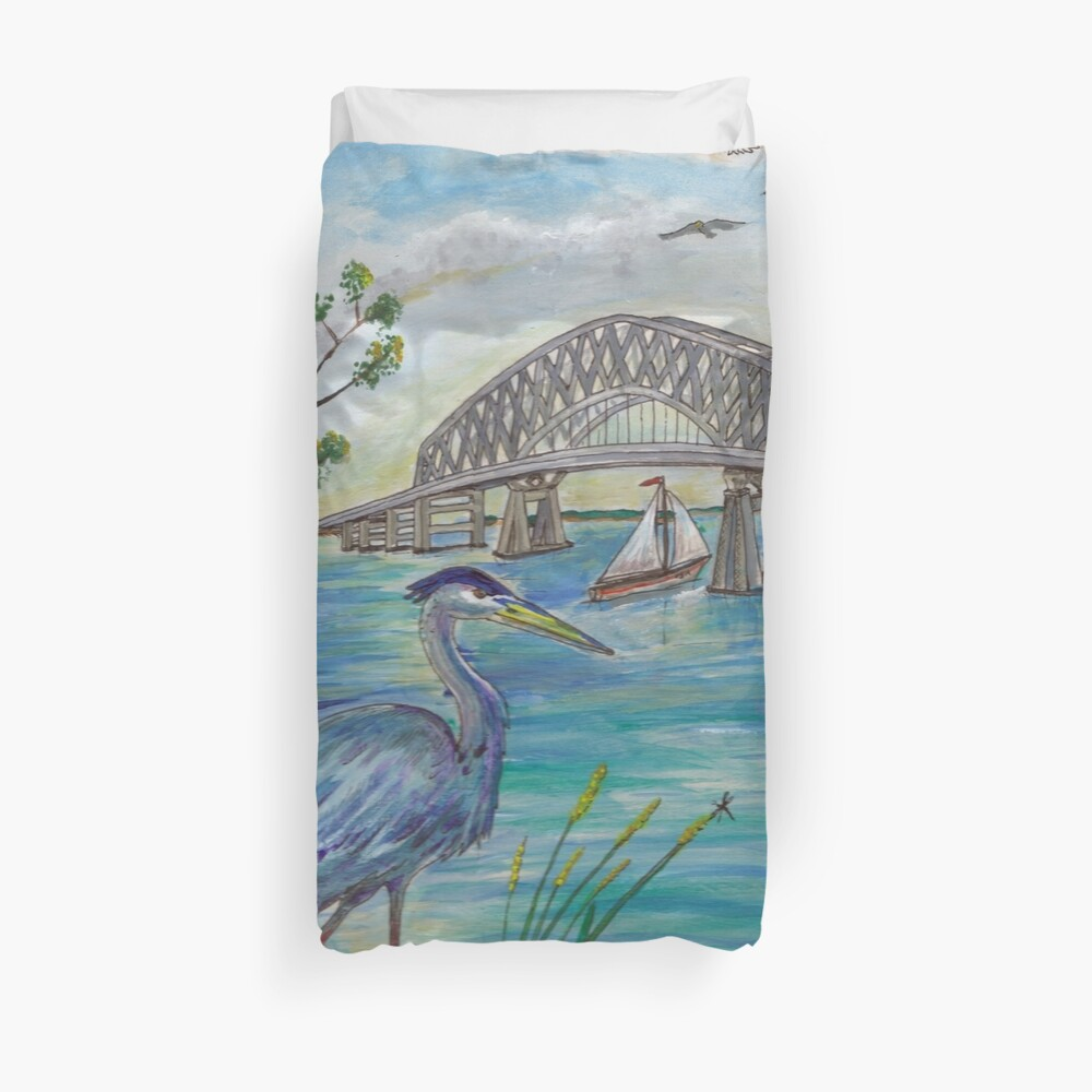 Blue heron by Key bridge Duvet Cover