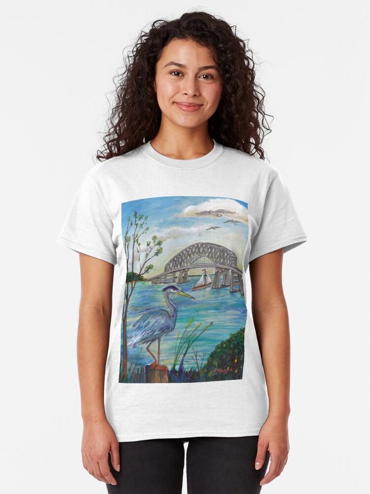Alternate view of Blue heron by Key bridge Classic T-Shirt