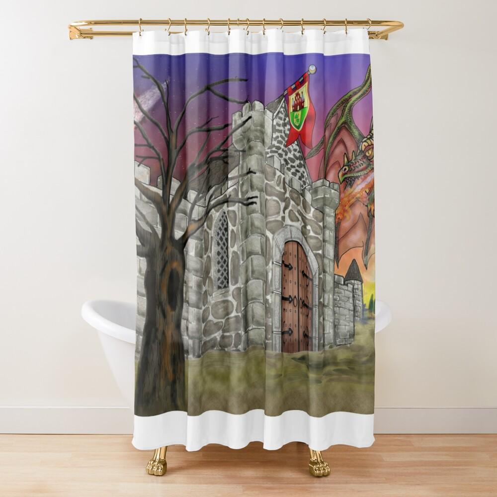 Dark Ruby Moon over Castle Shower Curtain