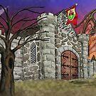 Dark Ruby Moon over Castle by DarkRubyMoon