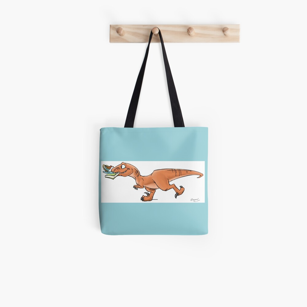 Raptor Tea and Book Fetch! from Mom Needs a Dinosaur! Book - Blue Background Tote Bag