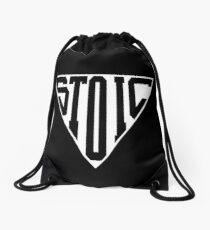 Stoic Triangle - Black Letters Drawstring Bag
