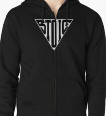 Stoic Triangle - Black Letters Zipped Hoodie