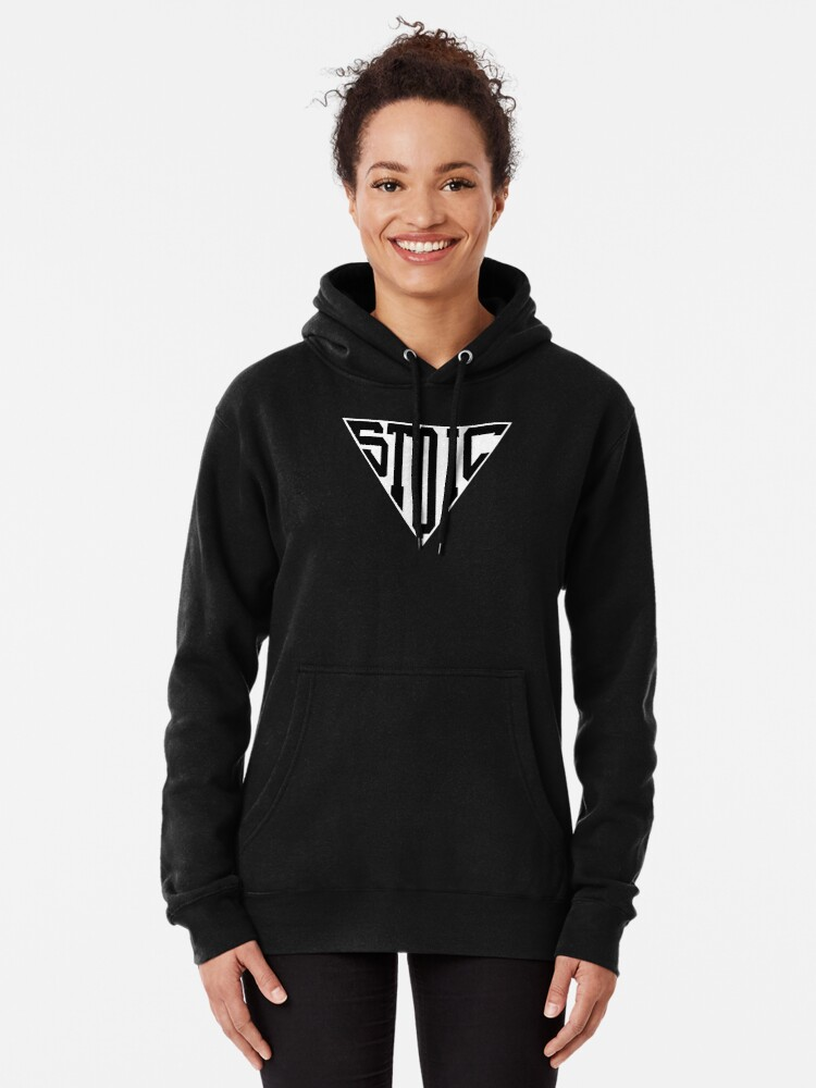 Alternate view of Stoic Triangle - Black Letters Pullover Hoodie