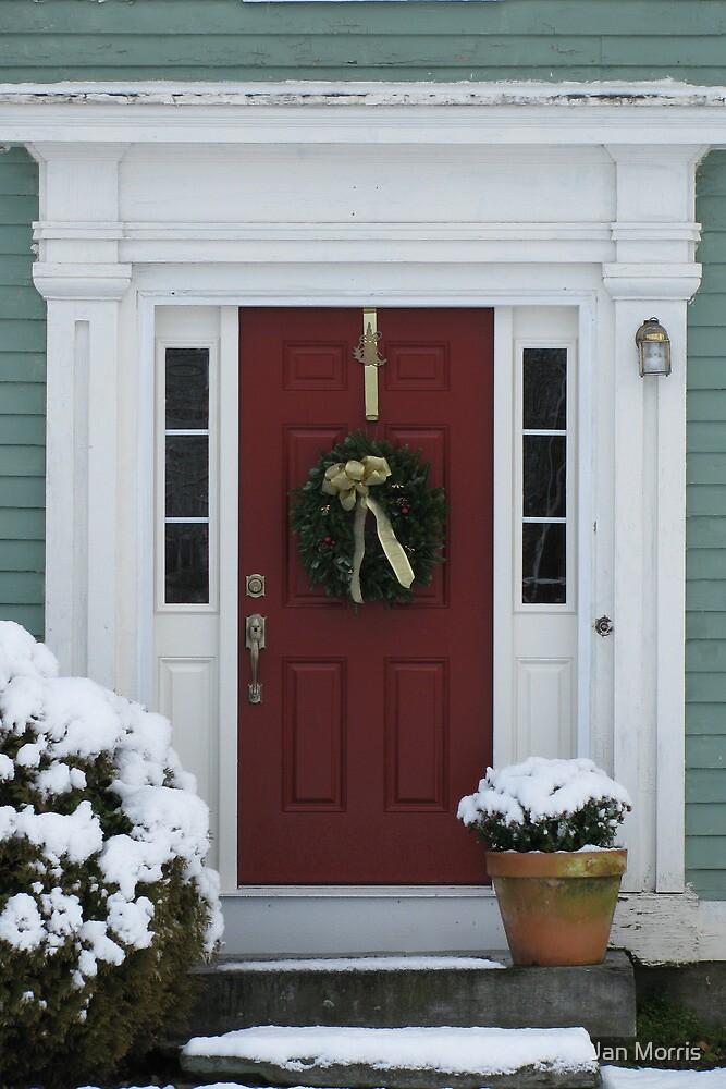 """""""Doors of Northfield"""" series, red door & wreath by Jan Morris"""