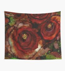 Big Red Blooming Roses Wall Tapestry