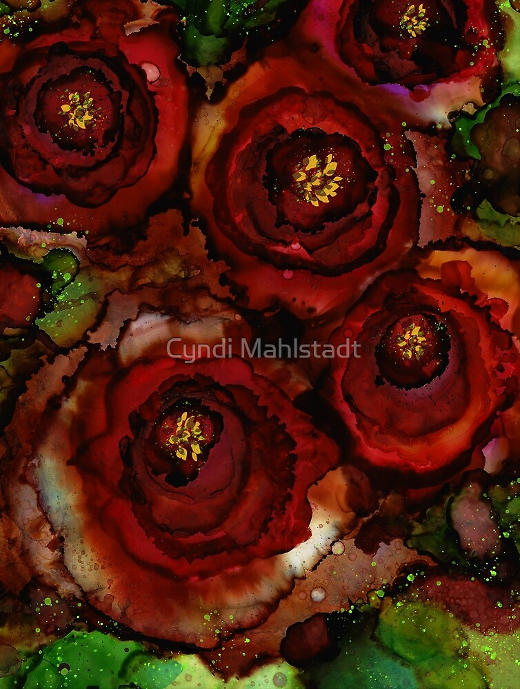 Big Red Blooming Roses by Cyndi Mahlstadt