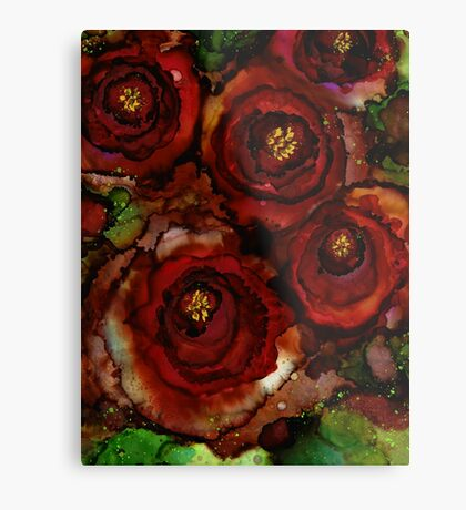 Big Red Blooming Roses Metal Print