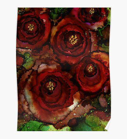 Big Red Blooming Roses Poster