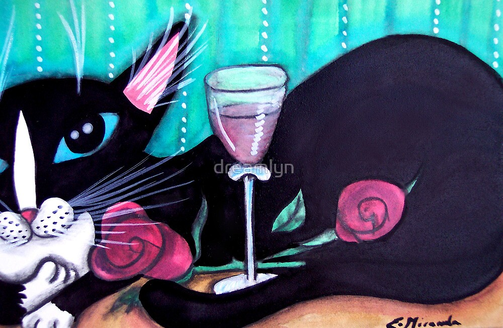 Tuxedo Cat Wine and Roses by dreamlyn