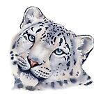 Snow Leopard in Watercolor by Denise Soden