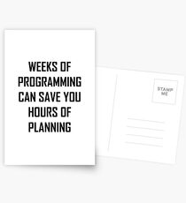 Plan your programming. Postcards
