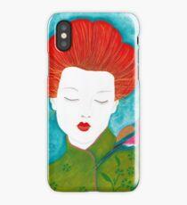 Geisha with bird iPhone Case/Skin