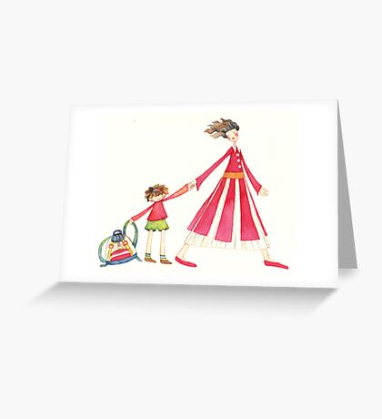 """Back to school, illustration of the story """"backpack"""" Greeting Card"""