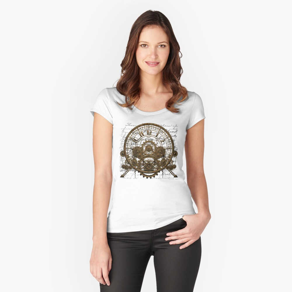 Vintage Steampunk Time Machine #1A Fitted Scoop T-Shirt