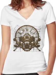 Vintage Steampunk Time Machine #1A Women's Fitted V-Neck T-Shirt