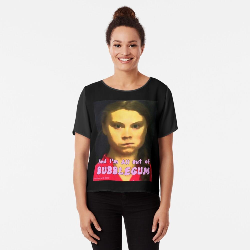 Greta Thunberg: All Out of Bubblegum Chiffon Top