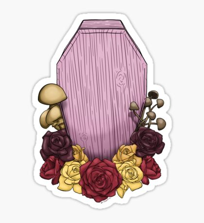 Powder Pink Coffin Glossy Sticker