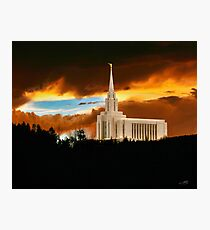 Oquirrh Mountain Temple Dark Sunset 20x24 Photographic Print