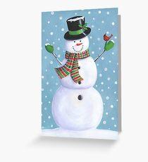 Cute snowman with cardinal Greeting Card