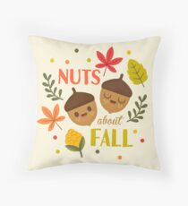 Nuts about Fall Throw Pillow