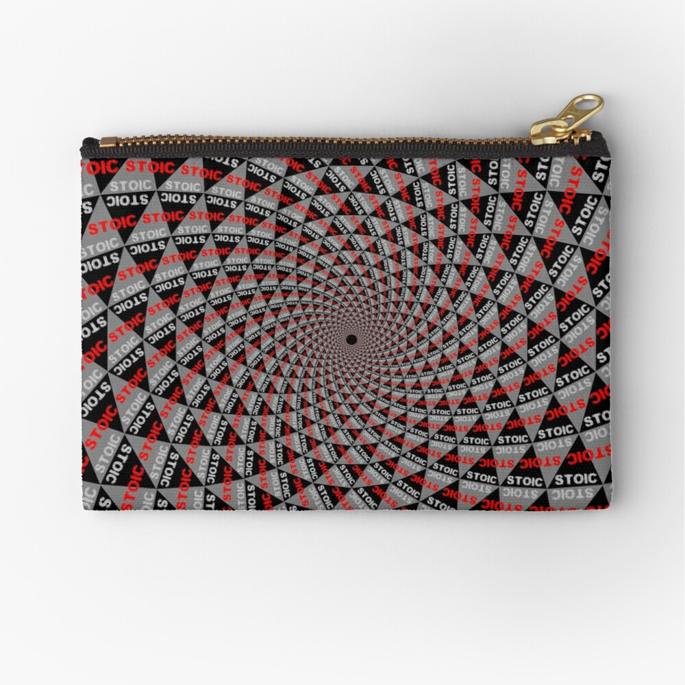 Stoic Flower - Red Grey Zipper Pouch