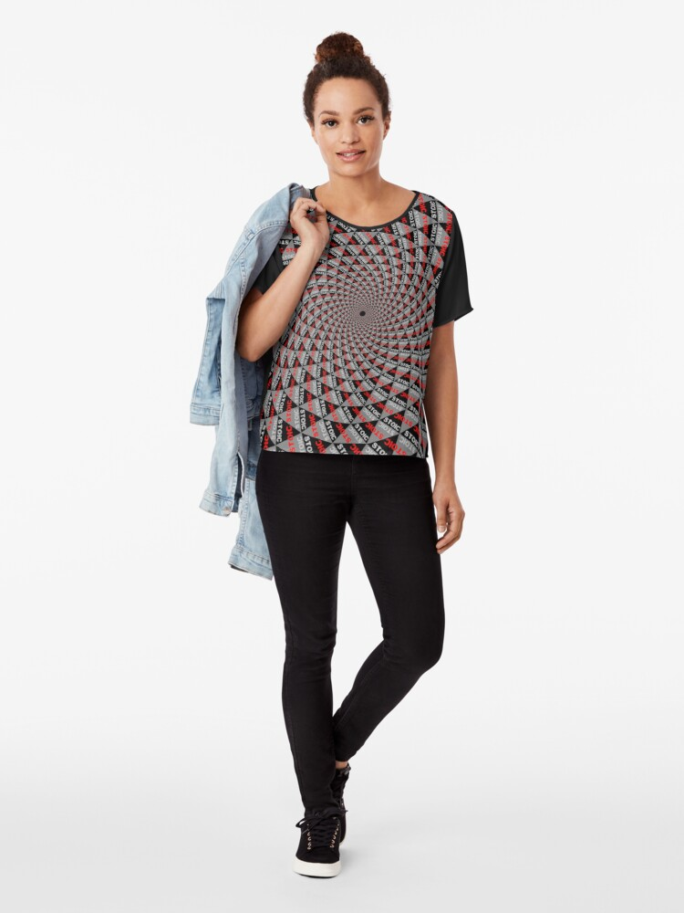 Alternate view of Stoic Flower - Red Grey Chiffon Top